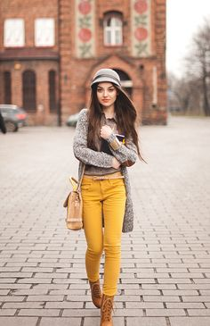mustard jeans, hat, boots. These are a few of my favorite things :)