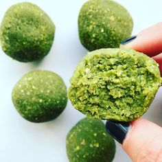 MATCHA BALLS. In a food processor blend 1/2c to 3/4c cashews, scraping the sides as needed. Once those are blended, add 1/4c coconut flour, 1/4c gluten-free oats, 2TBSP maple syrup, 1tsp matcha powder, 1/4tsp vanilla, and 2 TBSP vanilla almond milk. Roll into balls and refrigerate for 10-15 min! Store in an air tight container.