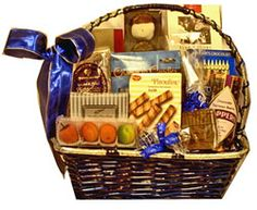 Hanukkah  Elegance: Blue and Silver elegant basket filled with Chanukah goodies