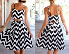 Monochrome Chevron Print Crop Top and Pleated Midi Skirt