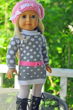 American Girl doll clothes, 18 inch doll clothes, American Girl clothes, gray w/white dots sweater dress, and pink hat and belt by Unendingtreasures on Etsy