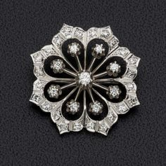 Diamond, White Gold Brooch