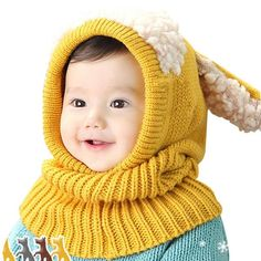 Girls Children Kids Winter Baby Caps Hat and Scarf Beanie Warm Hat For Girls Hooded Scarf Knitted Cap