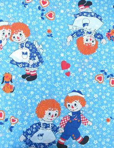 1970s 1980s Raggedy Ann and Andy on Blue and White Floral: Canise(remember?) and I had matching bedspreds w/ this print :)