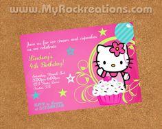 Hello Kitty Birthday Party InvitationDigital by rockreations, $13.00 Hello Kitty Cake, Hello Kitty Birthday, 4th Birthday, Birthday Parties, Birthday Ideas, Hello Kitty Invitations, March 3rd, Birthday Party Invitations, Rsvp