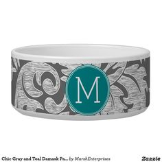 Chic Gray and Teal Damask Pattern Custom Monogram Pet Food Bowl