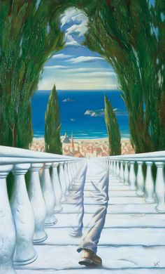 Descent to the Mediterreanean \\ Vladimir Kush. It is called 'Russian Dali. Vladimir Kush, Salvador Dali Gemälde, Salvador Dali Paintings, Illusion Kunst, Illusion Art, Kunst Online, Rene Magritte, Surrealism Painting, Artist Painting