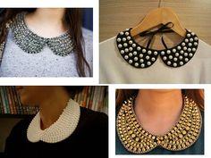 Cristã Delicada: Customizar - Bordados em Pedraria Bead Crochet, Crochet Necklace, Sewing Collars, Studded Shirt, Collar Designs, Collars For Women, Craft Accessories, Ribbon Art, Collar Pattern