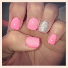 Pretty in Pink & Silver Nails