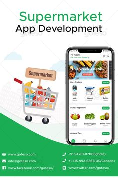 Goteso is the leading supermarket app development firm well-known in providing high-quality app development solutions. If you want to select a top-notch supermarket software development team on which you can trust completely without any worries, Goteso is surely a reliable name. To get a supermarket management software for your business, you can contact us at info@goteso.com or call us at +1 415-992-6367 #supermarketbusiness #app #appdevelopment #supermarketapp #supermarketsoftware #supermarket Mobile App Development Companies, Mobile Application Development, Software Development, Supermarket App, Supermarket Design, App Ui Design, Mobile App Design, Vegetable Delivery, Grocery Delivery App