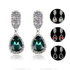 mode elegant saffier blauwe waterdruppels strass oorbellen met kristallen oorbellen (blauw groen wit) (1 paar) – EUR € 10.55