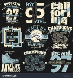 T-shirt stamp graphic set, New York Sport wear typography emblem set,vintage tee print, athletic apparel design graphic print. Print Design, Graphic Design, Retro Logos, Sports Illustrated, Sport Wear, Apparel Design, Vintage Tees, Graphic Prints, Typography