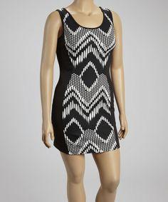 Look at this #zulilyfind! Black Geometric Zigzag Sheath Dress - Plus #zulilyfinds