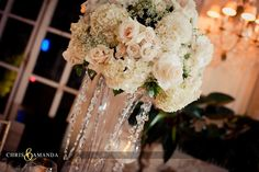 #wedding #reception #crystals #flowers #centerpiece #ivory #neutral #rosecliff #mansion