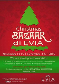 Christmas Bazaar Schedule 2015 around the City Food Styling, Decorative Items, Schedule, Bazaars, Ph, Christmas, Timeline, Xmas, Decorative Objects