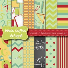 Back to school digital paper; find a matching freebie at:  https://www.facebook.com/pages/White-Coffee-Designs/296285603838541