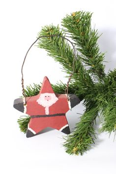 Rustic Wooden Star / Santa Claus Hand Painted Ornament /