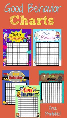 Encourage your kids to be on their best behavior with these cute free printable good behavior charts!