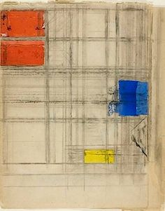 "kundst: "" Piet Mondrian (NL 1872 - 1944 US) Study for a Composition, Collage of cut and pastel papers, prepared with gouache and charcoal, on pieced cream wove newsprint in three parts. Piet Mondrian, Bauhaus, Pastel Paper, Dutch Painters, Dutch Artists, Bear Art, Art Moderne, Art Institute Of Chicago, Minimalist Art"