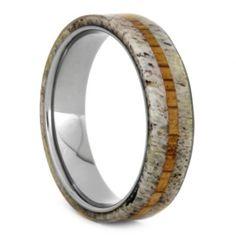 Deer Antler And Oak Ring, Deer Antler Jewelry, Size 6-RS9407