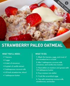 Strawberries n' Cream Paleo Oatmeal looks interesting.i would decrease the butter or use coconut oil for a richer flavor. Strawberries n' Cream Paleo Oatmeal looks interesting.i would decrease the butter or use coconut oil for a richer flavor. Low Carb Recipes, Whole Food Recipes, Cooking Recipes, Healthy Recipes, Cooking Games, Paleo Oatmeal, Oatmeal Recipes, Coconut Oatmeal, Oatmeal Cream