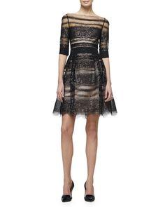 B3B6X Carolina Herrera Half-Sleeve Metallic-Lace Fit & Flare Dress, Black/Purple