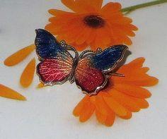 Art Deco Butterfly Pin, Vintage, Red Brass & Iridescent Multicolor Vitreous Enamel, Marked Czechoslovakia, 15% Off SALE!   $35