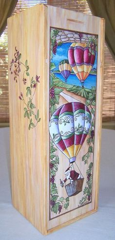 Misguided Designs Hand Painted Wood Wine Box. Custom painted for any holiday or event.