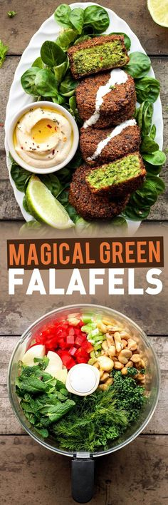Use canned garbanzos and bake instead of fry. Must check out this blog more. fullofplants.com - Magical Green Falafels