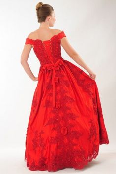 Lovely Red Off the Shoulder Evening Dress Formal Gown