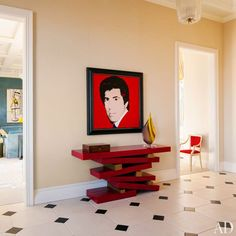 A 1983 Andy Warhol portrait of Steve Wynn hangs in the foyer of Wynn's Manhattan pied-à-terre.
