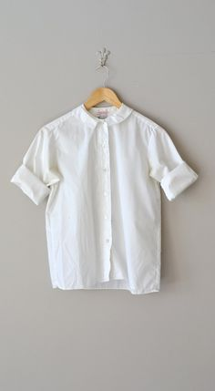 Academy blouse / vintage 1950s blouse / white cotton by DearGolden