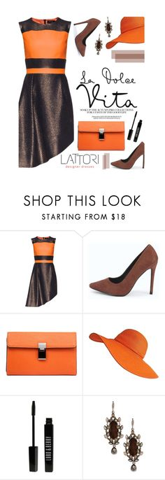 """""""Orange + Chocolate"""" by merima-kopic ❤ liked on Polyvore featuring Lattori, Boohoo, Lord & Berry, Givenchy, dress and lattori"""