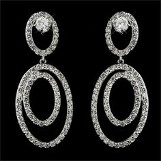Double Oval Cubic Zirconia Statement Bridal Earrings for Wedding