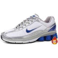 brand new 23f1d 3fa4b Mens Nike Shox R6 White Silver Blue Lether Cheap Nike, Nike Shoes Cheap,  Nike