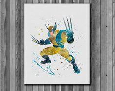 Wolverine Poster,  Marvel Comics -  watercolor, Art Print, instant download,  Watercolor Print, poster