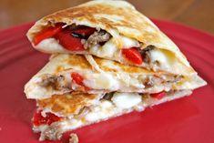 Italian Quesadillas - Dinner Table For Five Ground Italian Sausage Recipes, Ground Sausage, Italian Beef, Beef Enchilada Dip, Beef Enchiladas, Balsamic Dressing, Quesadilla Recipes, Top Recipes, Quesadillas