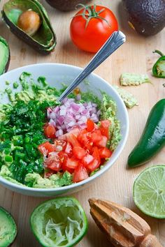 Guacamole:  2 large avocados, mashed 1 lime, juice 1 jalapeno pepper, finely diced 1 romano/plum tomato, seeded and finely diced 1/4 cup red onion, finely diced 1 tablespoon cilantro, chopped 1/2 teaspoon cumin, toasted and ground salt and pepper to taste