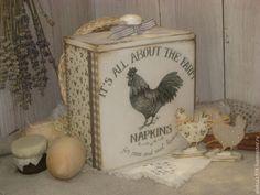 "Купить Короб "" Ферма NAPKINS"" - белый, Декупаж, короб для хранения, короб для кухни"