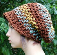 boho rasta slouch beret hat brown turquoise lime green