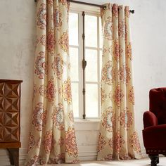 """<i>Suzani</i> comes from the Persian word for """"needlework"""" and is associated specifically with the tribal embroideries of Central Asia. Our colorful curtain plays host to a motif that works well with both vibrant hues and neutrals."""