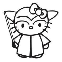 Adhesivo de vinilo Hello Kitty disfrazada de Yoda, de la película de la Guerra…
