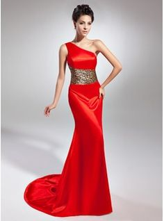 Special Occasion Dresses - $144.99 - Sheath One-Shoulder Sweep Train Charmeuse Evening Dress  http://www.dressfirst.com/Sheath-One-Shoulder-Sweep-Train-Charmeuse-Evening-Dress-017015048-g15048
