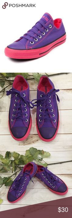 Converse purple Chuck Taylor tennis shoes! Converse purple Chuck Taylor tennis shoes! These are super cute purple and pink Chucks that have been only worn a couple times and look great! These are perfect with a midi dress, shorts, or jeans. A great pop of color! Preloved in excellent condition. Converse Shoes Sneakers