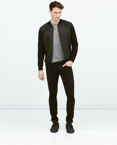 Combined (quilted) nylon jacket -ZARA Man