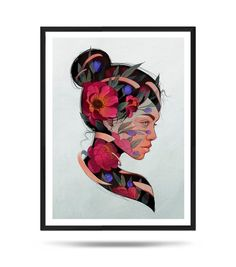 Flowershead, Portrait, Flowers, Girl, Fine Art Print, Matte, digital illustration Portrait, Digital Illustration, Fine Art Prints, My Arts, Paper, Flowers, Cards, Etsy, Headshot Photography