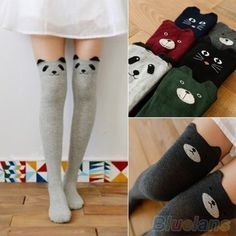 0fcf64a4da5 Women s Fashion Cute 3D Cartoon Animal Pattern Thigh Stockings Over Knee  High Knit Socks