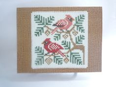 Cardinals hand stitched card by HMCrafters on Etsy