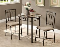 Candace & Basil DINING SET — 3PCS SET / CAPPUCCINO MARBLE / BRONZE METAL |