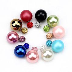 2016 Nueva joyería de la Manera doble de la perla pendientes brincos pendientes para las mujeres pendientes de moda del perno prisionero del color del caramelo